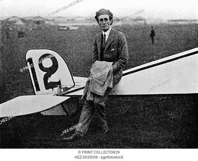 The Aerial Derby: Lord Carbery with his Morane-Saulnier monoplane, 1914 (1934). Artist: Flight Photo