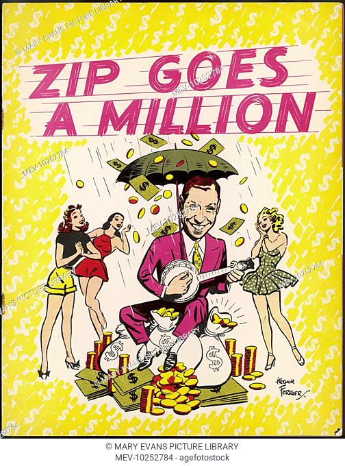 Colour theatre programme cover for a music revue, Zip Goes a Million with George Formby in a starring role. The front cover picture depicts a caricature of...