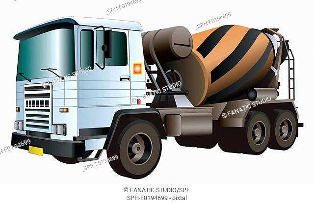 Cement truck, illustration
