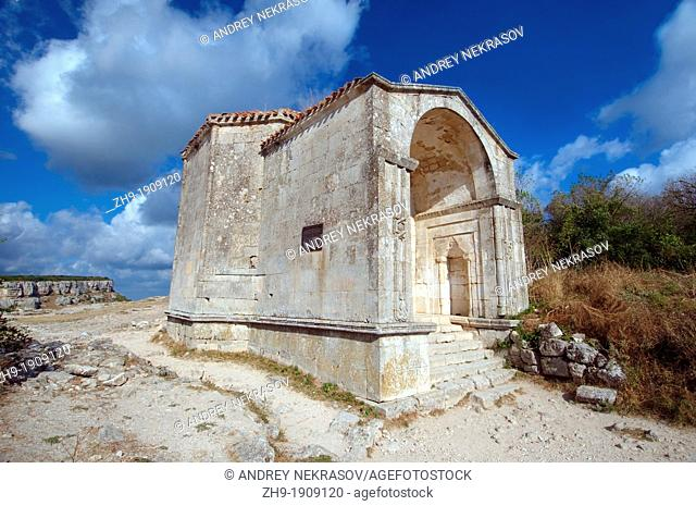Mausoleum of Dzhanike-Khanym, daughter of Tokhtamysh  Çufut Qale, Chufut-Kale Jewish Fortress, cave city  Crimea, Ukraine, Eastern Europe