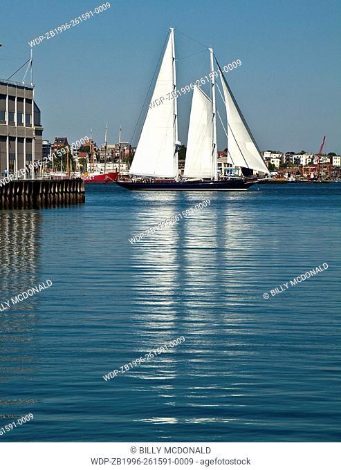 Sailing Clipper on Boston Harbor Near The South Boston Waterfront ,Boston, Massachusetts, USA