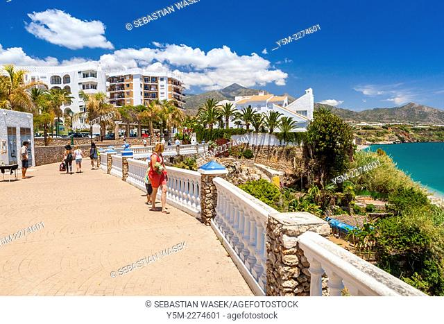 A view from Mirador del Bendito on Playa Carabeillo, Nerja, Costa del Sol, Malaga Province, Andalusia, Spain, Europe