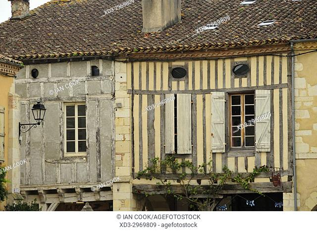 half-timbered architecture, Labastide-d'Armagnac, Les Landes Department, Aquitaine, France