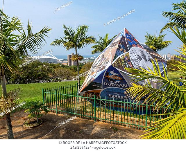 The Cube with the Moses Mabhida Stadium iin the background. Durban or eThekwini. KwaZulu Natal. South Africa