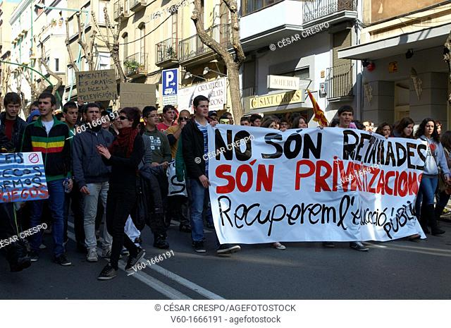 -Students' Demonstrations against Cuts- Tarragona Catalonia, Spain