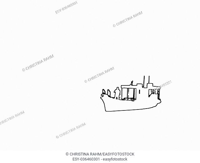 Silhouettes of small ferry boat and captain black contours on white abstract background illustration