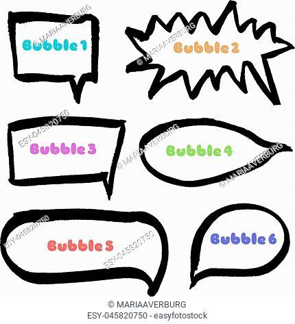 Set of hand drawn black marker bubbles. Vector illustration