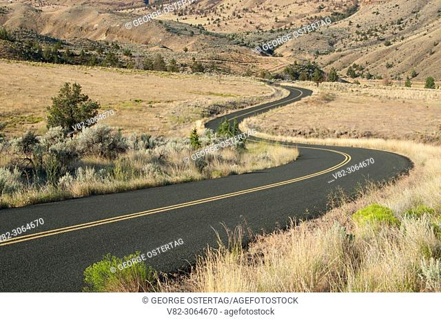 Road through sage grassland, John Day Fossil Beds National Monument-Sheep Rock Unit, Journey through Time National Scenic Byway, Oregon