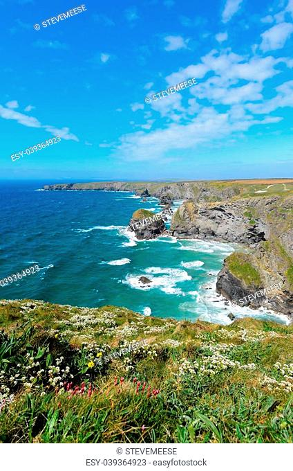 Pendarves Island at Bedruthan Steps viewed from Carnewas Point Cornwall England