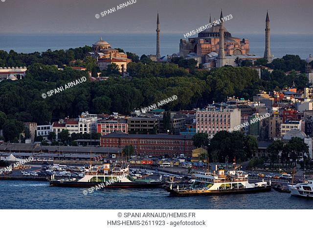 Turkey, Istanbul, St. Sophie, listed as World Heritage by UNESCO, overview Ste.Sophie, the port and the Bosphorus