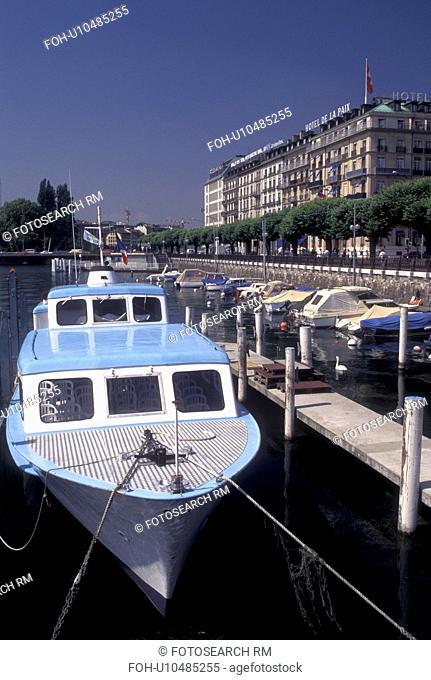 Geneva, Switzerland, Lake Geneva, Boats docked at a marina in the harbor of Lac Leman in Geneva