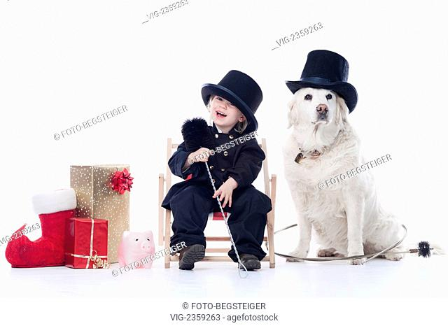 little girl and dog as chimney sweep - 23/12/2010