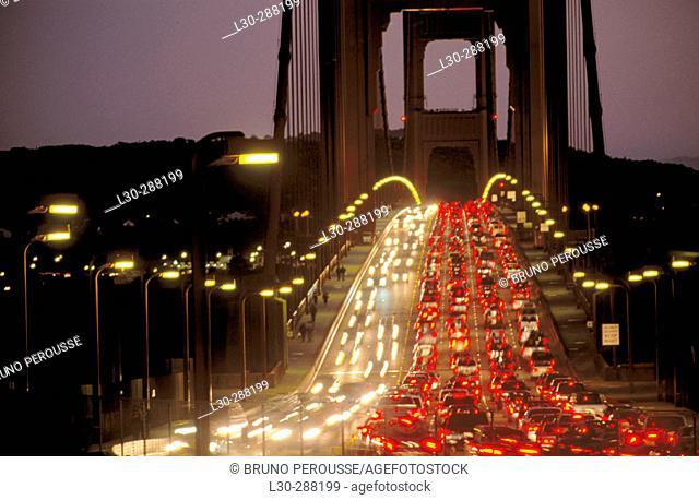 Golden Gate Bridge at night. San Francisco. California, USA