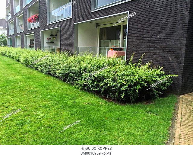 Tilburg, Netherlands. First and second floor of an modern apartment building in a park down town Tilburg
