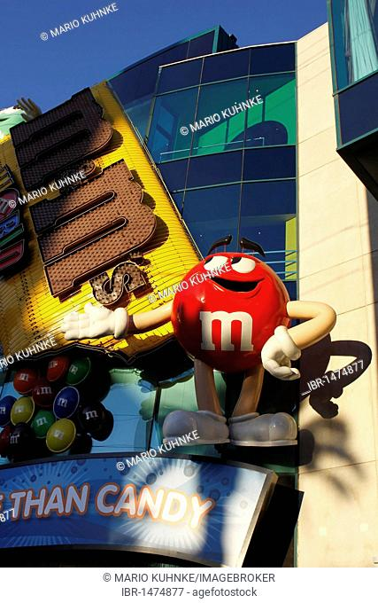 Mugs in different colors in the M & M store on Las Vegas Boulevard in Las Vegas, Nevada, USA