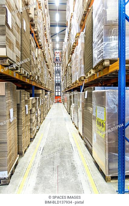 Packed pallets on shelves in warehouse