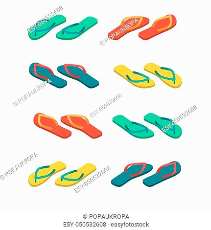 Slippers isolated. Summer shoes. Beach Boots sign