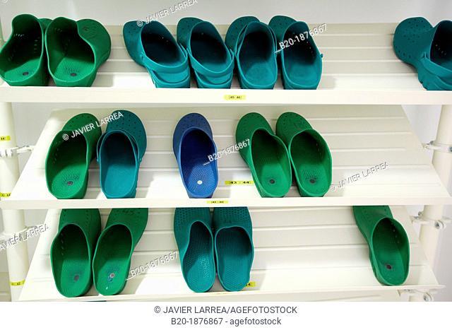 Shoes, Operating room clogs, Surgery, Hospital Donostia, San Sebastian, Gipuzkoa, Basque Country, Spain