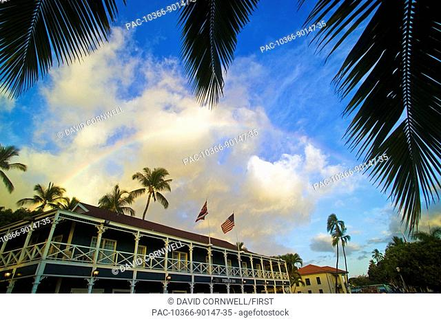 Hawaii, Maui, Lahaina, Front & Canal st. with Pioneer Inn at the corner