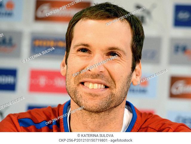 Petr Cech, captain of Czech Republic national soccer team speaks during press conference in Prague, Czech Republic on October 15