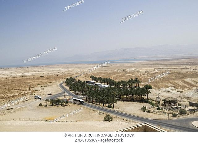 Entrance to the Masada fortress complex. Parking area. Masada National Park, Judean Desert, UNESCO World Heritage Site, Israel, Middle East