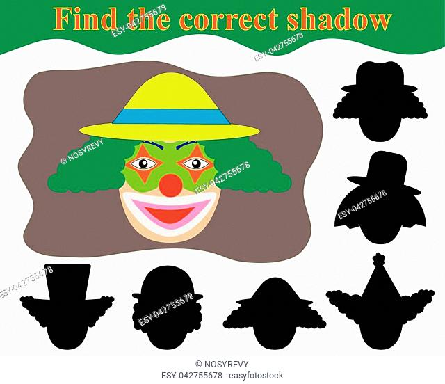 Find the correct shadow. Happy face clown. Educational game for children