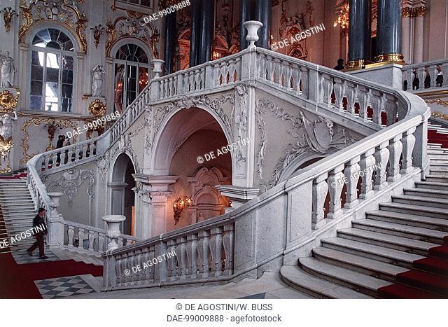 Jordan Staircase, Winter Palace, by Bartolomeo Francesco Rastrelli (1700-1771), now the Hermitage Museum, Saint Petersburg (UNESCO World Heritage List, 1990)