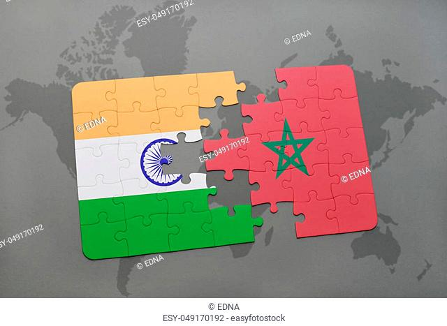 puzzle with the national flag of india and morocco on a world map background. 3D illustration