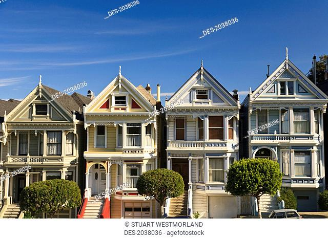 Victorian Style Homes Near Alamo Square, San Francisco California United States Of America