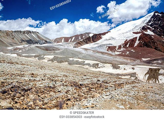 Stony multi-colored mountains. Tien Shan, Kyrgyzstan