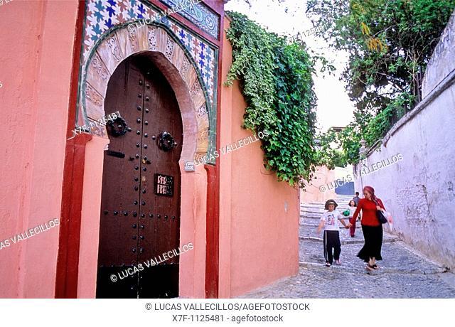 Door of Carmen de la Media Luna, Cuesta de San Gregorio  Albaicin quarter, Granada, Andalusia, Spain  Albaicín quarter  Granada, Andalucia, Spain