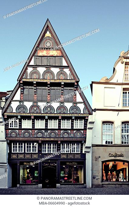 Osnabrück, Lower Saxony, House Willmann in Krahnstrasse, built in 1586, half-timbered