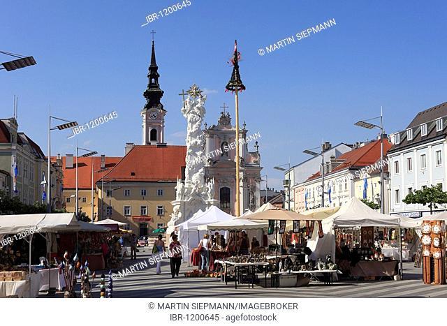 Flea market on town hall square, St. Poelten, Lower Austria, Austria, Europe
