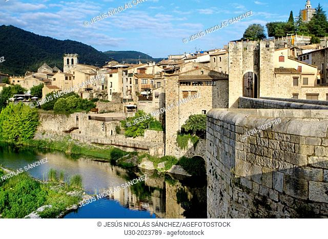 View of Besalu, a medieval village declarated Historical-Artistic Site, ubicated in La Garrotxa, Girona province. Catalonia; Spain