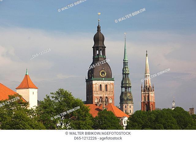 Latvia, Riga, Old Riga, Vecriga, view of three Riga churches