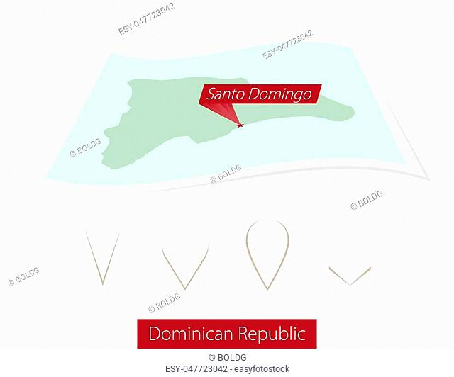 Curved paper map of Dominican Republic with capital Santo Domingo on Gray Background. Four different Map pin set. Vector Illustration