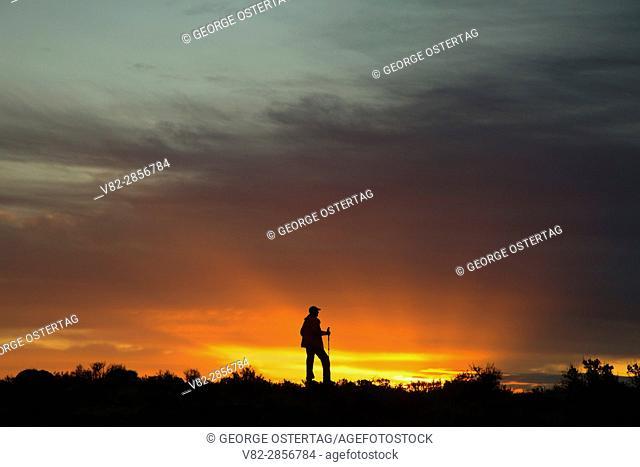 Hiker sunrise near Burke Lake, Quincy Lakes Unit - Desert Basin Wildlife Area, Washington