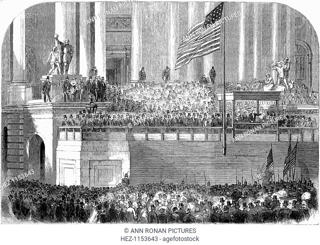 Inauguration of President Lincoln, Washington DC, 4 March 1861. Abraham Lincoln (1809-1865) delivering his inaugural address as President in front of the...