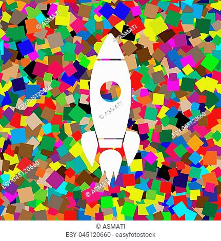 Rocket sign illustration. Vector. White icon on colorful background with seamless pattern from squares