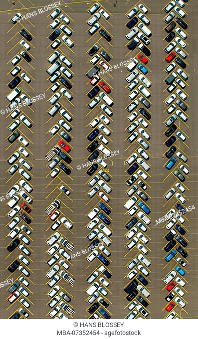 Cars, car motive, logport I, Rheinhausen, industry at Rhine, car dumps, parking lot in herringbone pattern, export vehicles, import vehicles, Duisburg