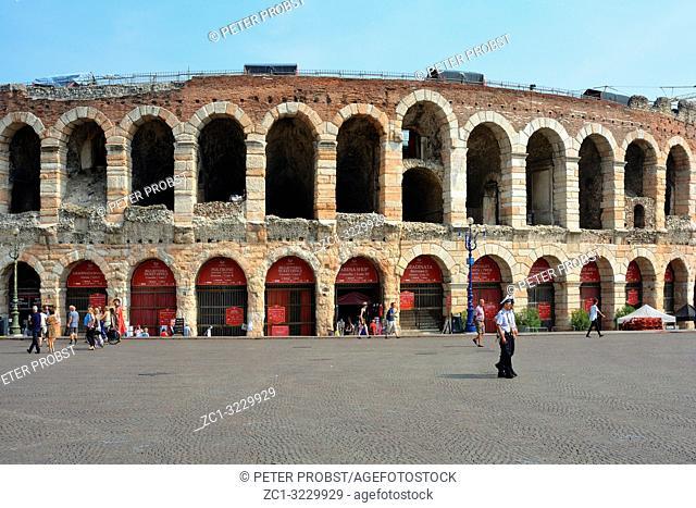 Roman amphitheatre Arena di Verona at the Piazza Bra square in the historic centre of Verona - Italy