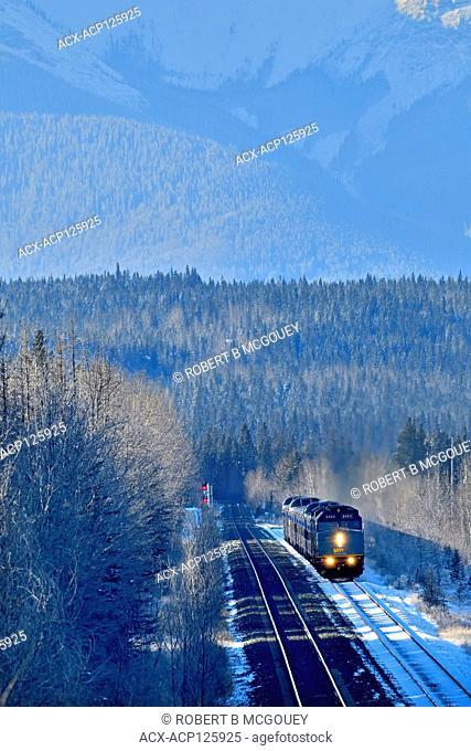 A vertical image of a Via Rail passenger train waiting at a rural siding near Hinton Alberta Canada