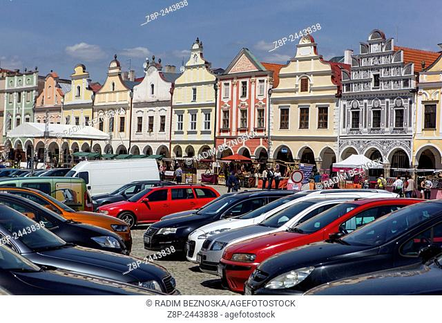 Telc, Czech Republic, UNESCO world heritage town, main square, facade townhouses