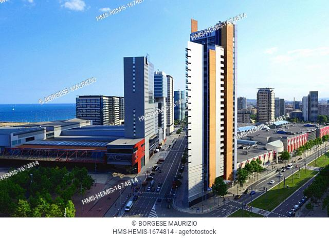Spain, Catalonia, Barcelona, Forum district, Barcelona Princess hotel and others residential complexes seen from a terrace of Diagonl Zero hotel