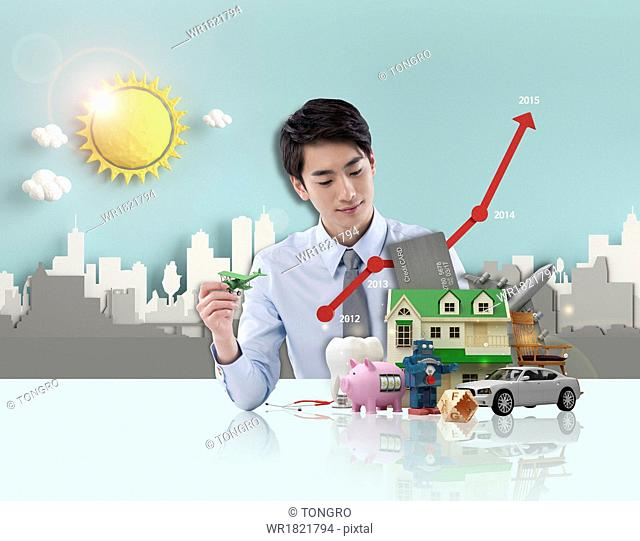 a business man looking at items
