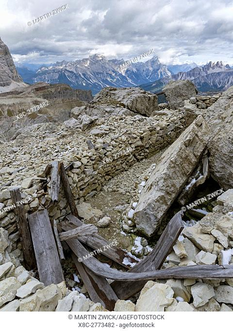 Emplacements of the Austrian forces during World War 1 at Mount Lagazuoi in the Dolomites, now preserved as a museum. The Dolomites are listed as UNESCO World...