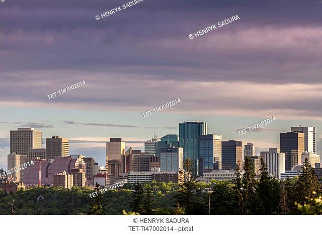 Canada, Alberta, Edmonton, Cityscape with moody sky