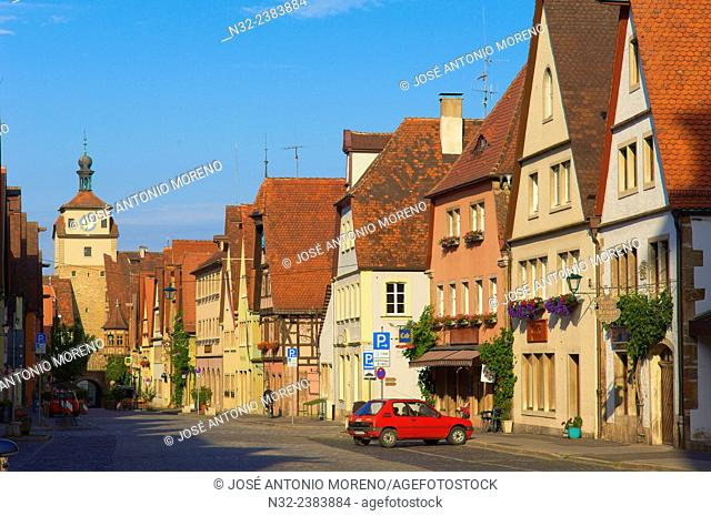 Markusturm, Markus Tower, Rothenburg ob der Tauber, Romantic Road, Romantische Strasse, Franconia, Bavaria, Germany, Europe
