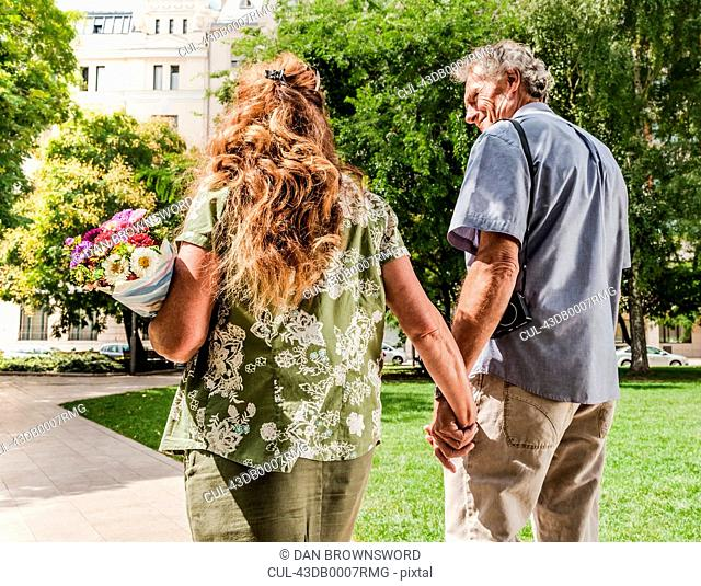 Older couple holding hands in park