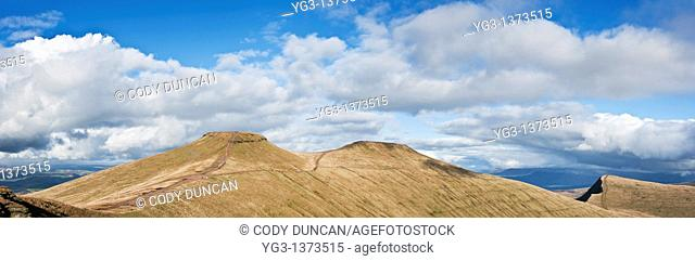 Scenic view of Pen Y Fan and Corn Du in mountains of Brecon Beacons national park, Powys, Wales